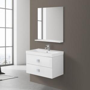 Mobile Bagno Sospeso 75 cm Bianco Laccato Specchio Bravo75
