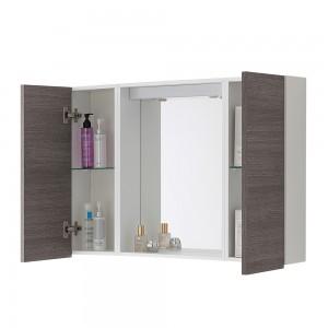 Specchio contenitore per bagno con 2 ante rovere scuro