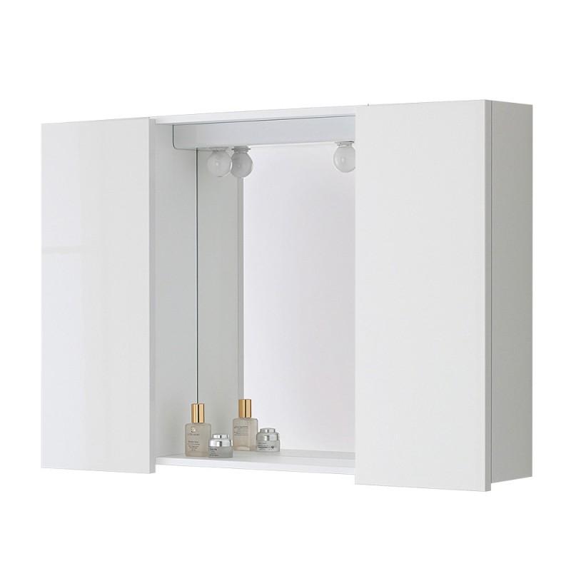 Specchiera contenitore bagno linea Way 2 ante 60x90 cm bianco lucido