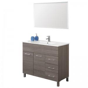 Mobile 100 cm con Lavabo e Specchio Rovere Scuro Mondo