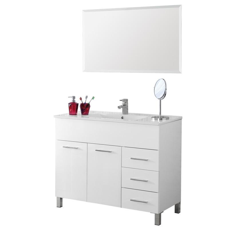 Mobile 100 cm con Lavabo e Specchio Bianco Linea Mondo