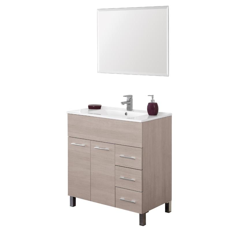 Mobile 80 cm con Lavabo e Specchio Rovere Chiaro Mondo