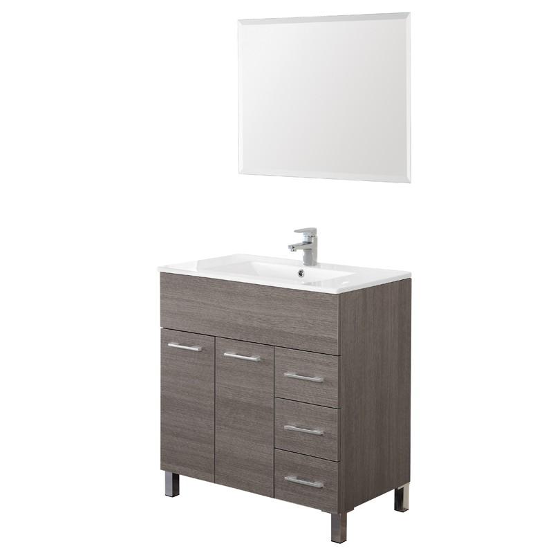 Mobile Bagno Rovere Scuro a semplicità Con Lavabo E Specchio L.81