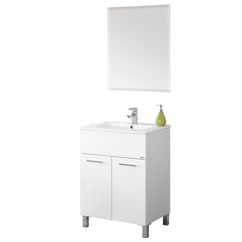 Mobile Bagno Bianco Lucido Con Lavabo E Specchio L.61