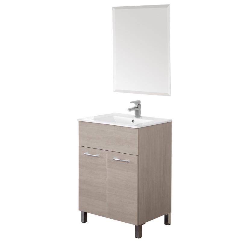 Mobile 60 cm con Lavabo e Specchio Rovere Chiaro Mondo