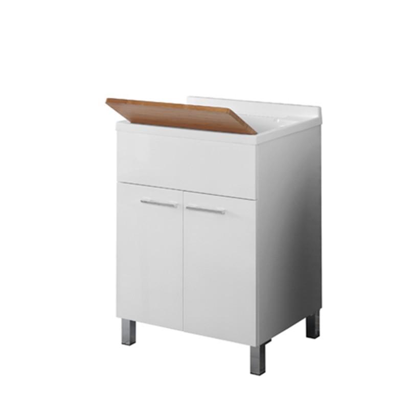 Lavatoio 60x50 con Tavoletta Bamboo Piletta e Sifone Bianco Mondo