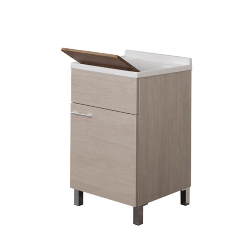 Lavatoio 50x50 con Tavoletta Bamboo Piletta e Sifone Rovere Chiaro Mondo