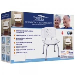 Sedile Doccia con Schienale in Alluminio bianco 56 x 48 x 85h cm