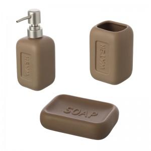 Ceramica 3 Pezzi: Dispenser Portaspazzolino Portasapone Tortora Bingo