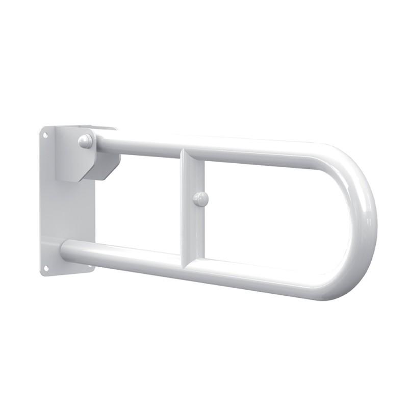 Maniglione Ribaltabile 60 cm per Sanitari in Acciaio Laccato Bianco