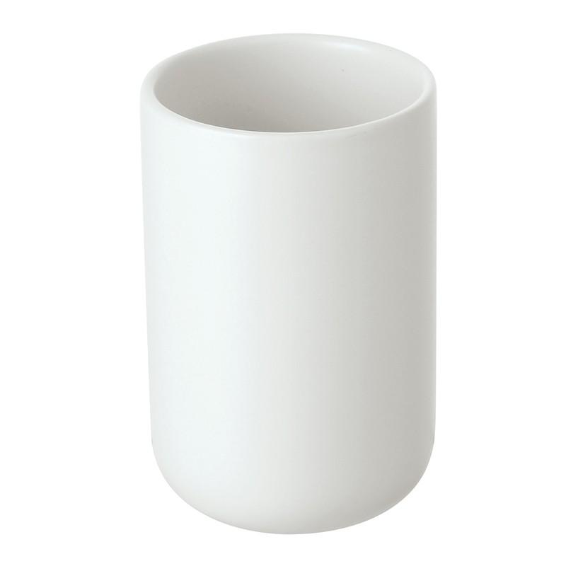 Portaspazzolini Bianco in Ceramica da Appoggio Moderno