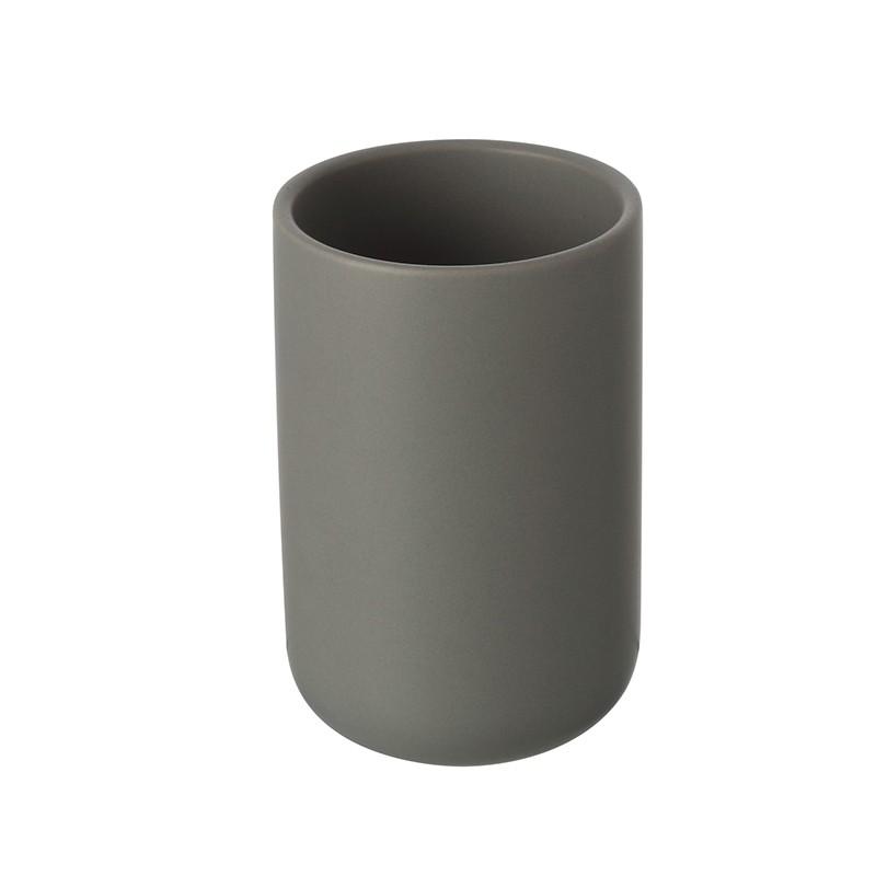 Portaspazzolini Grigio In Ceramica Da Appoggio Moderno