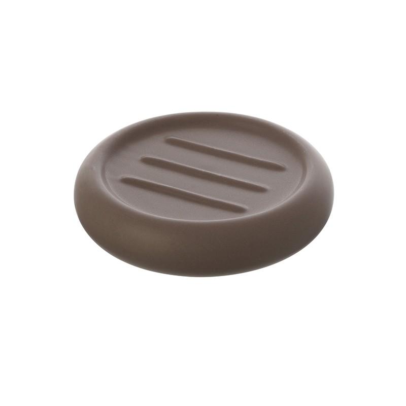 Portasapone Tondo Ceramica Tortora Da Appoggio Arredo Bagno