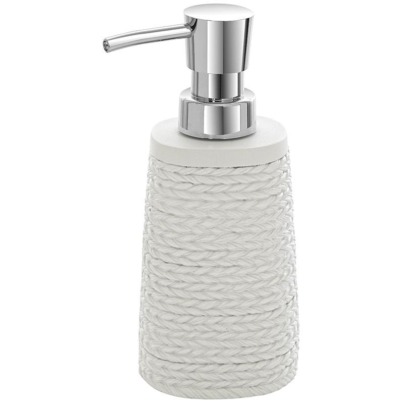 Dispenser Sapone Liquido Bianco In Poliresina effetto Vimini