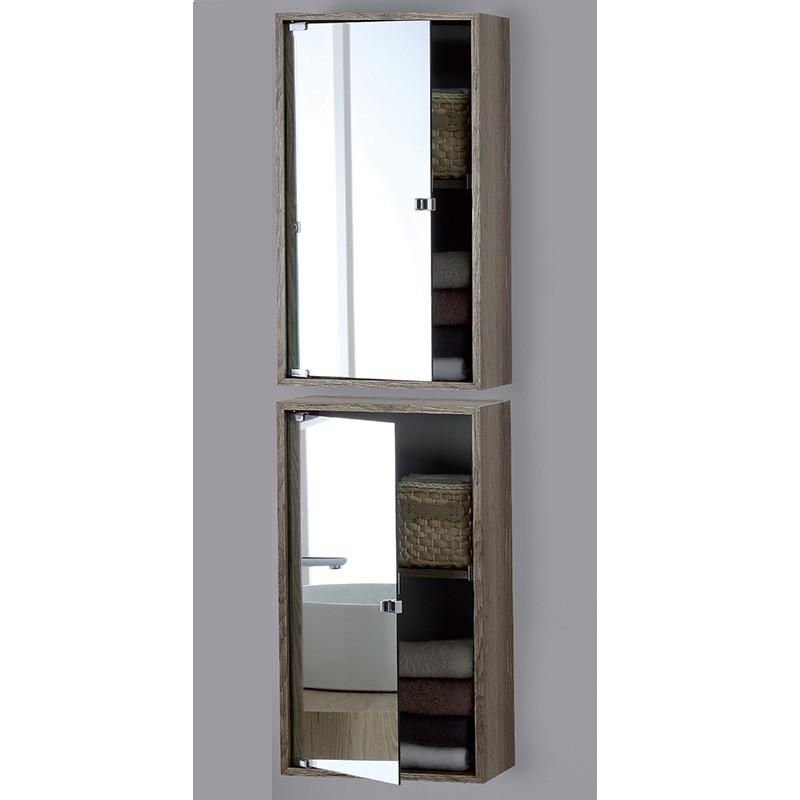 Pensile Contenitore in Nobilitato con Anta a Specchio Color Castagno 90 x 33 cm