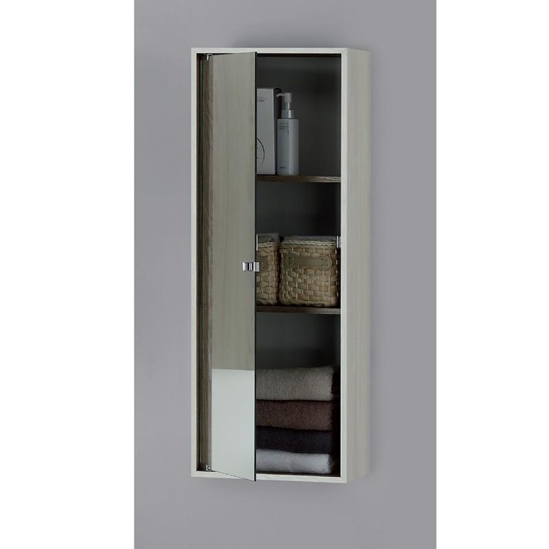Pensile Contenitore in Nobilitato con Anta a Specchio Colore Pino Bianco 90 x 33