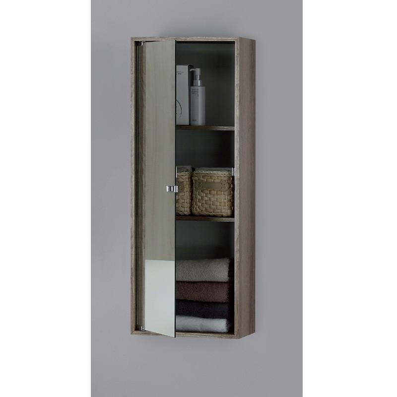 Pensile Contenitore In Nobilitato Con Anta a Specchio Colore Castagno  90 X 33 cm
