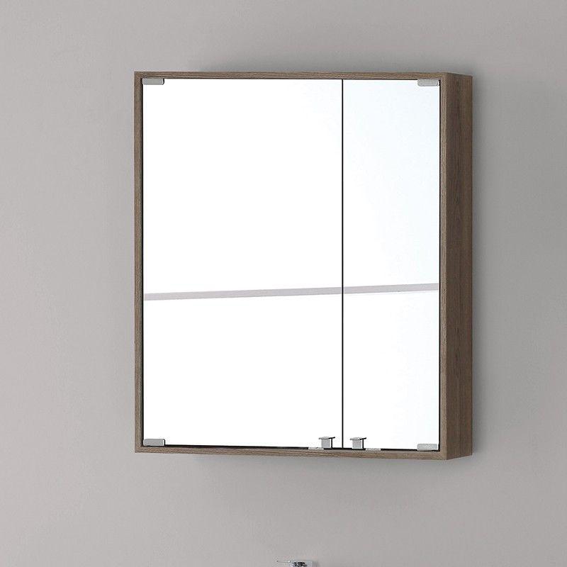 Specchio Bagno Con Ante.Specchiera Bagno Contenitore Feridras Linea Over 60 Castagno L