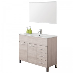 Mobile Bagno in Legno Nobilitato Rovere con Ante e Cassetti e Specchio