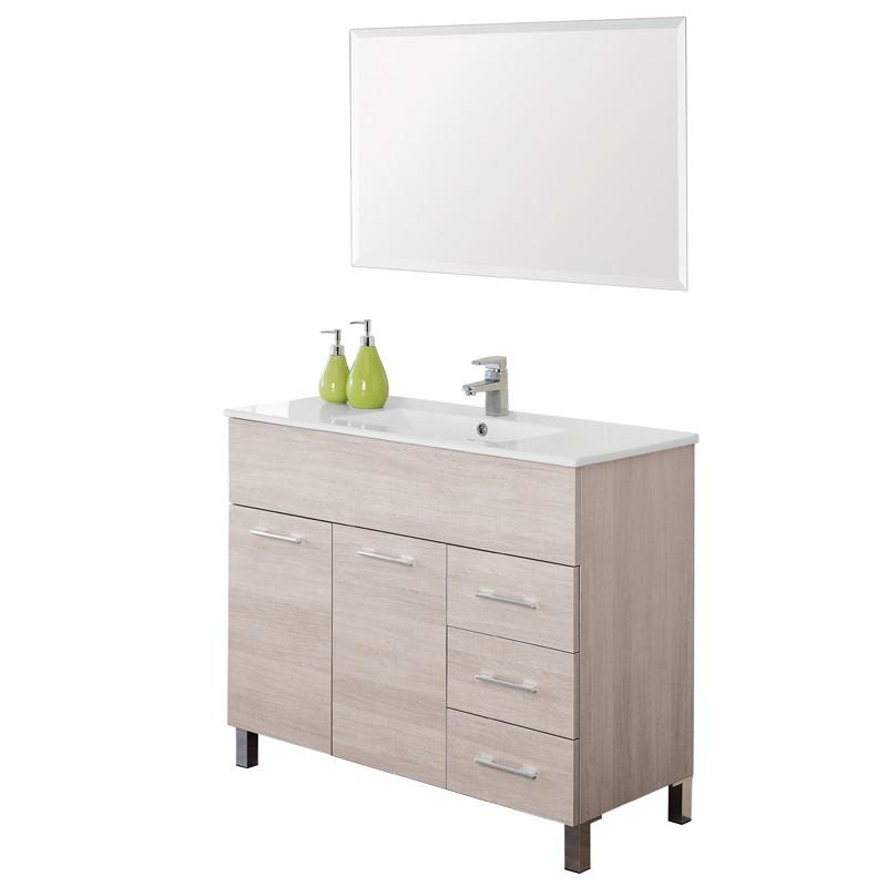Mobile Bagno a Terra 100 cm con Lavabo e Specchio Rovere Chiaro Mondo