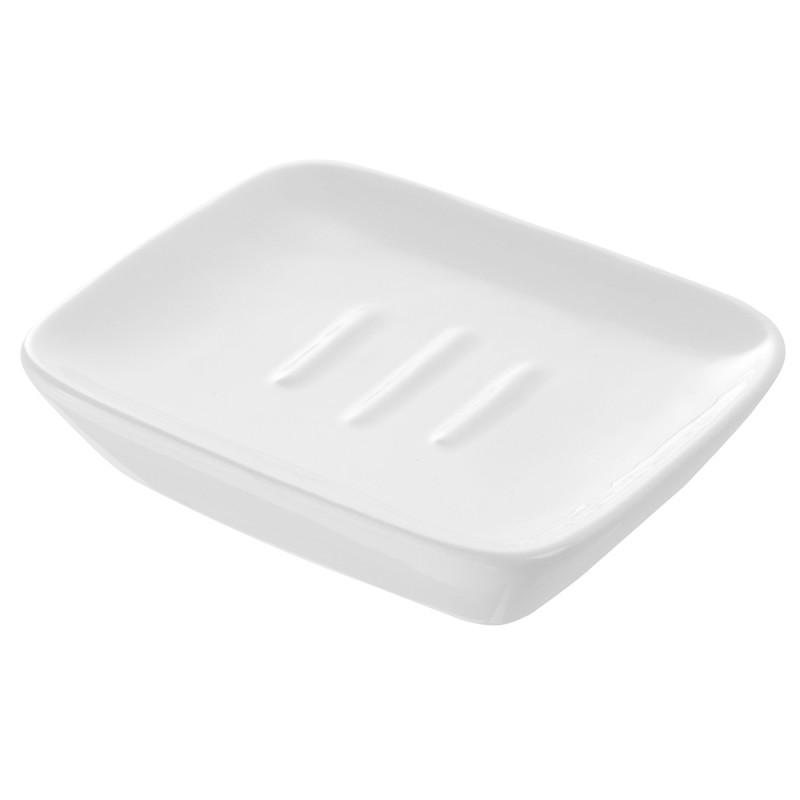 Portasapone in Ceramica Bianco Rettangolare da Appoggio
