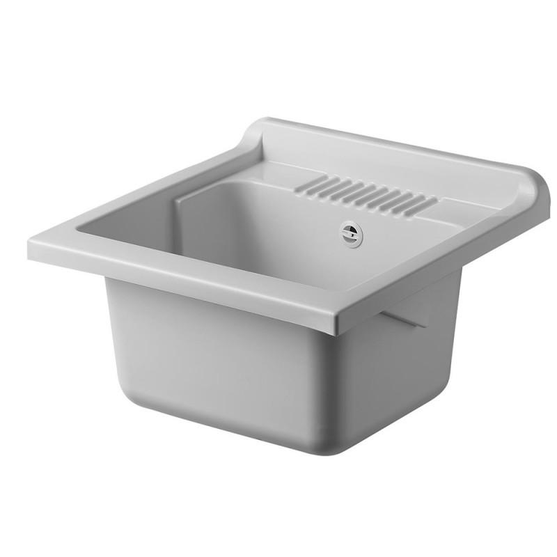 Vasca per Lavatoio in Plastica 50 x 50 cm Bianco + kit di scarico e piletta