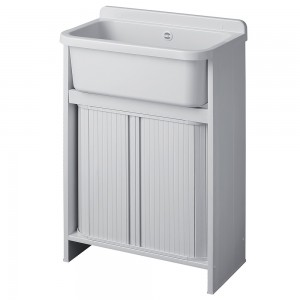 Mobile lavatoio Salvaspazio in resina bianco