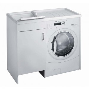 Mobile Copri Lavatrice e Lavatoio Bianco Vasca Sinistra negrari