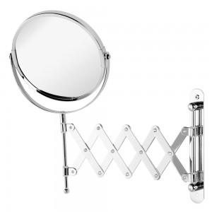 Specchio Beauty a Muro Estensibile in Acciaio Cromato con Doppio Specchio