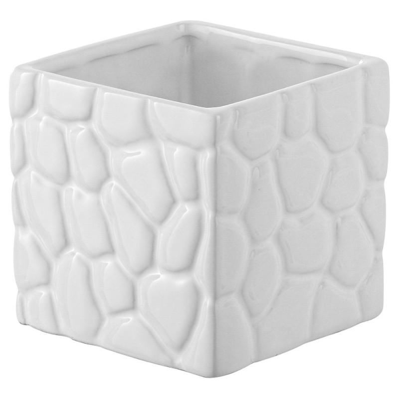Portaspazzolino in Ceramica Bianco Linea Sasso