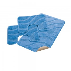Parure Bagno 100% Polipropilene con Antiscivolo Onda Azzurro 50x80, 50x40, 50x40