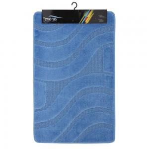 Tappeto Bagno 3 Pezzi Color Azzurro In Polipropilene 100% Antiscivolo