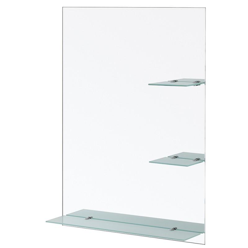 Specchio Rettangolare con Mensole in Vetro Satinato Spessore 6 mm