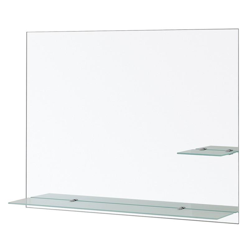 Specchio Decorativo Con Mensole In Vetro Satinato 80x60H