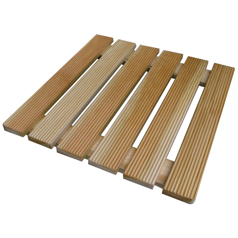 pedana quadrata in legno per bagno