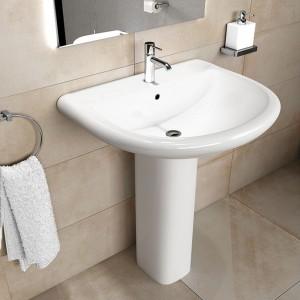 Lavabo con Colonna Ceramica Rak Serie Orient completa di Colonna