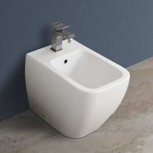 Bidet a Pavimento Filomuro Rak Ceramiche serie Metropolitan Bianco
