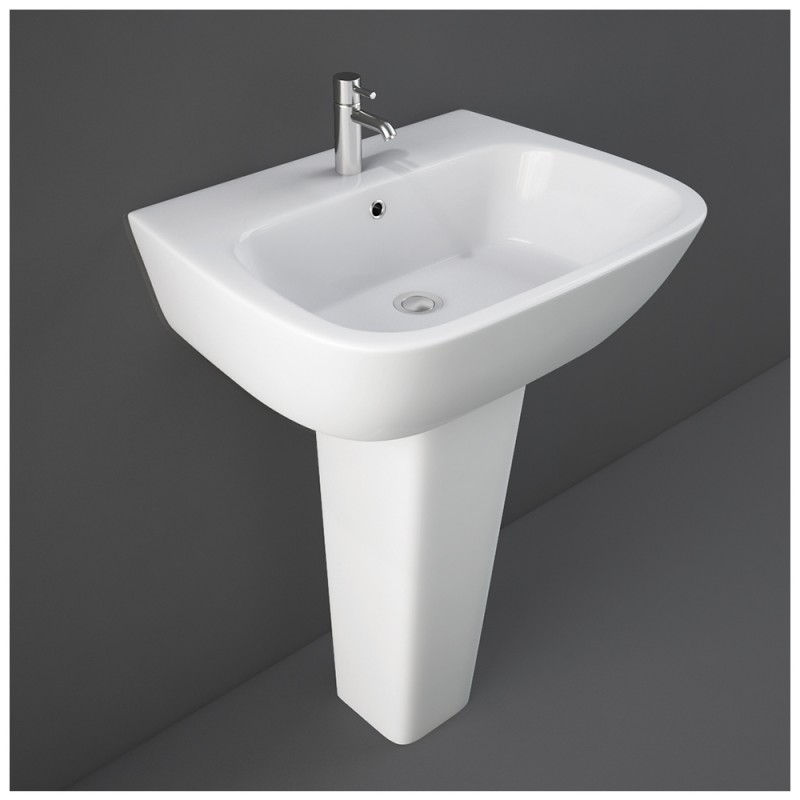 Lavabo con Colonna Rak Ceramiche Serie One completa di Colonna Bianco