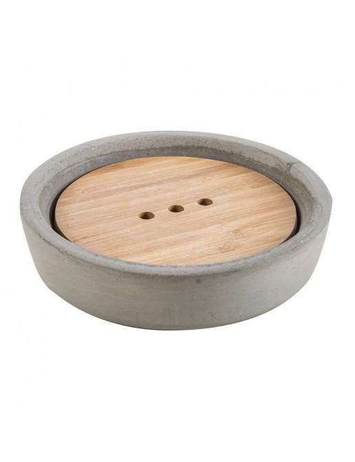 Portasapone da Appoggio Grigio Cipi serie New Cement resina e legno
