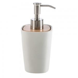 Dispenser Sapone da Appoggio Cipi serie Plain Bianca in Ceramica e Legno