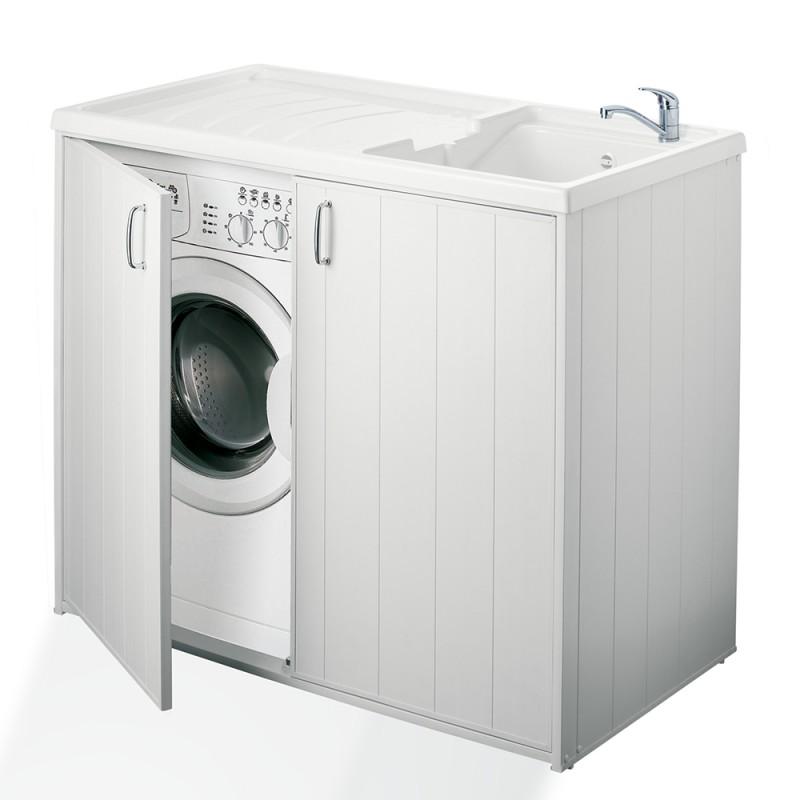 Mobile Lavatrice e Lavatoio Bianco 109 x 60 in PVC Reversibile