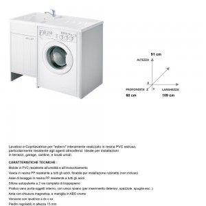 mobile lavatrice in resina bianco