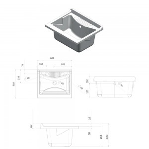 Mobile Lavatoio Lavapanni in PVC con vasca in resina L.60xP.50xH.85 con chiusura a serrandina Bianco