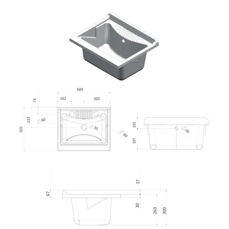 mobile lavatoio con vasca misure