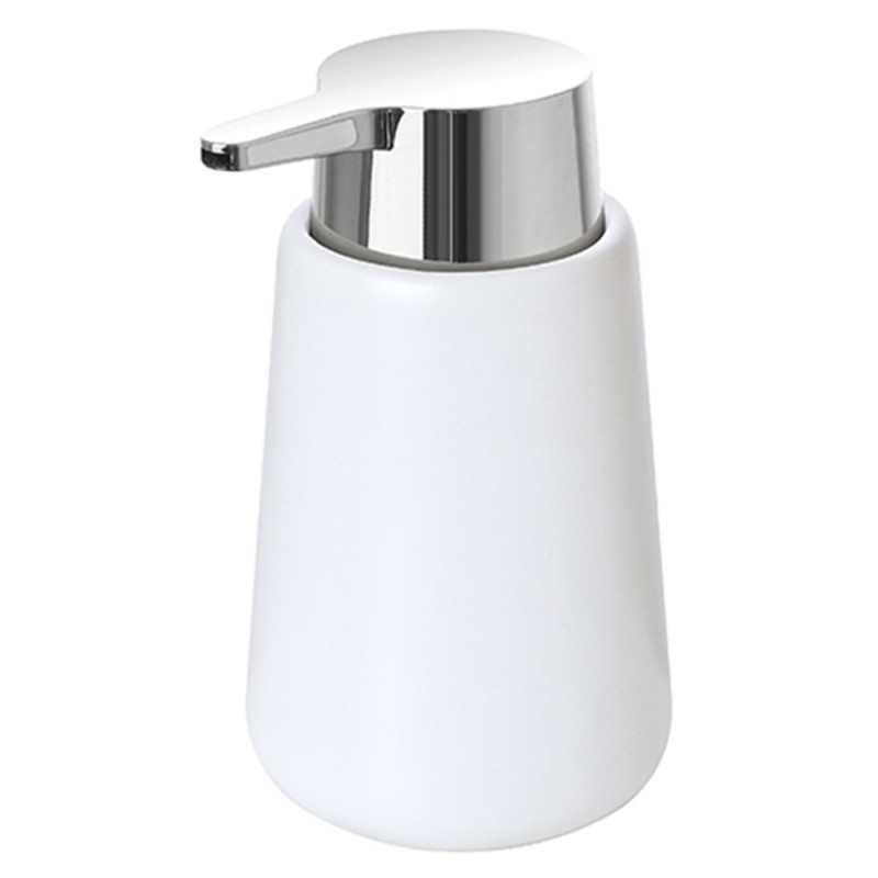 Dispenser Ceramica Bianco Portasapone per Arredo Bagno