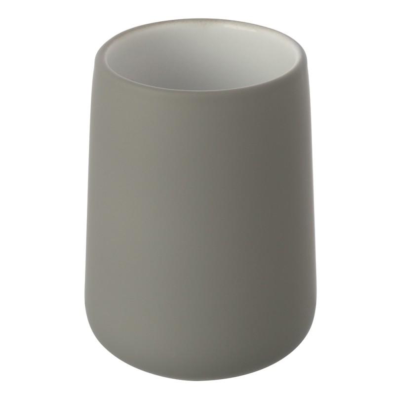 Portaspazzolino Grigio In Ceramica per Arredo Bagno