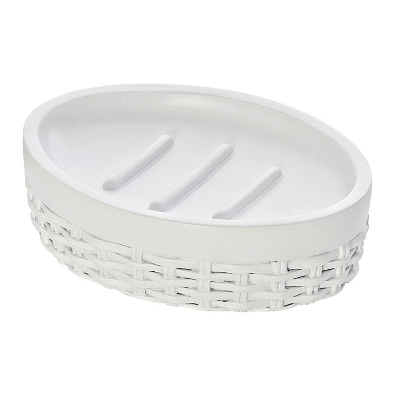Portasapone D'Appoggio Bianco in Resina Design Moderno