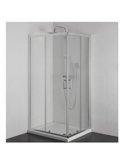Box Doccia Angolare 70 x 70 in vetro temperato con ante scorrevoli