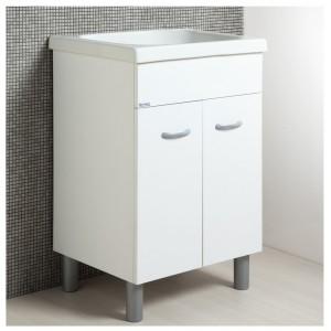 Mobile Lavatoio con Vasca in Ceramica e Strofinatoio Integrato 60 x 50 Bianco
