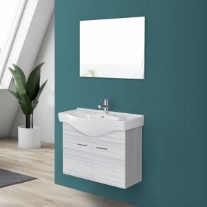 Mobile Bagno in legno grigio con specchio e lavabo sospeso 2 ante